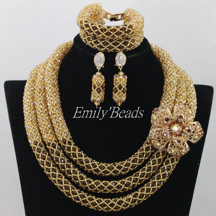 Gold Women African Costume Jewelry Set Nigerian Wedding African Beads Jewelry Set Brown Crystal Necklace Free Shipping AIJ566 цены онлайн