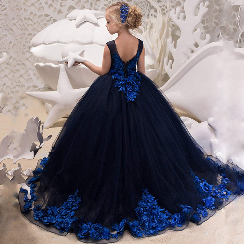 New Arrivals Elegant Little Girls Lace Appliques Sleeveless Ball Gowns V-back Wedding Dresses Princess Birthday Gowns Communion