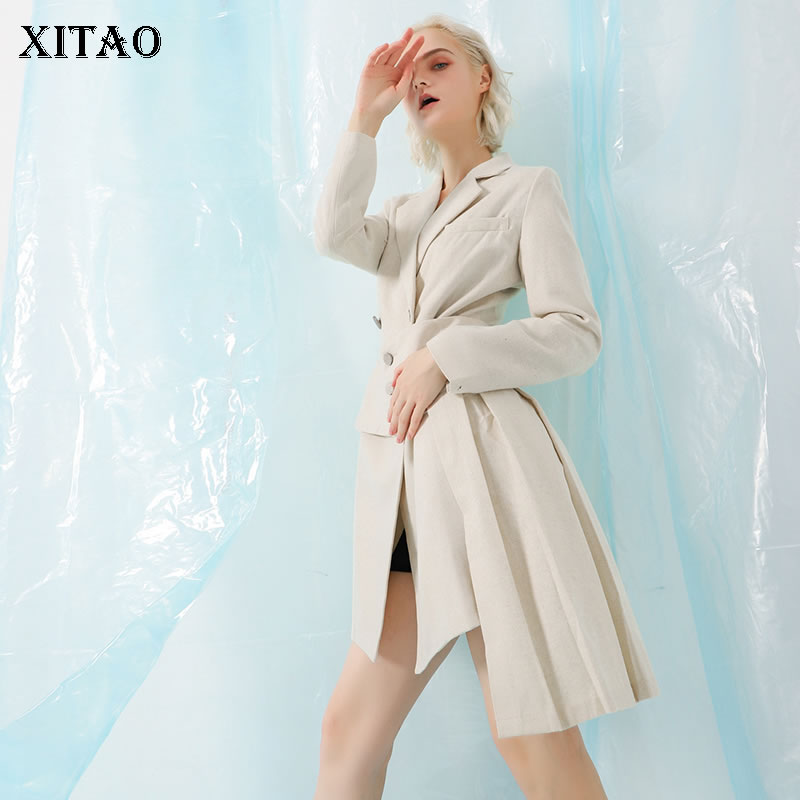 [XITAO] 2018 Autumn Korea Fashion Double Breasted Asymmetrical Turn-down Collar Full Sleeve Solid Color Long   Trench   LJT4541