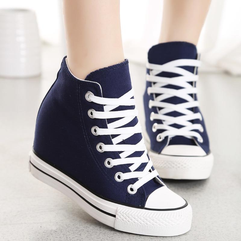 Pieaugums 8 centimetru audekla kurpju vidū, pamata rindas atpūtas - Sieviešu apavi
