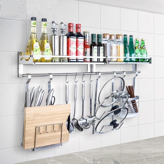 304 Stainless Steel Wall Mount Single Tier E Rack Multi Function No Drilling Hanging Kitchen Storage Seasoning Shelf