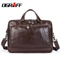 OGRAFF Men Handbags Genuine Leather Bags Men Messenger Bag Large Capacity Multifunction Handbags Leather Men Crossbody