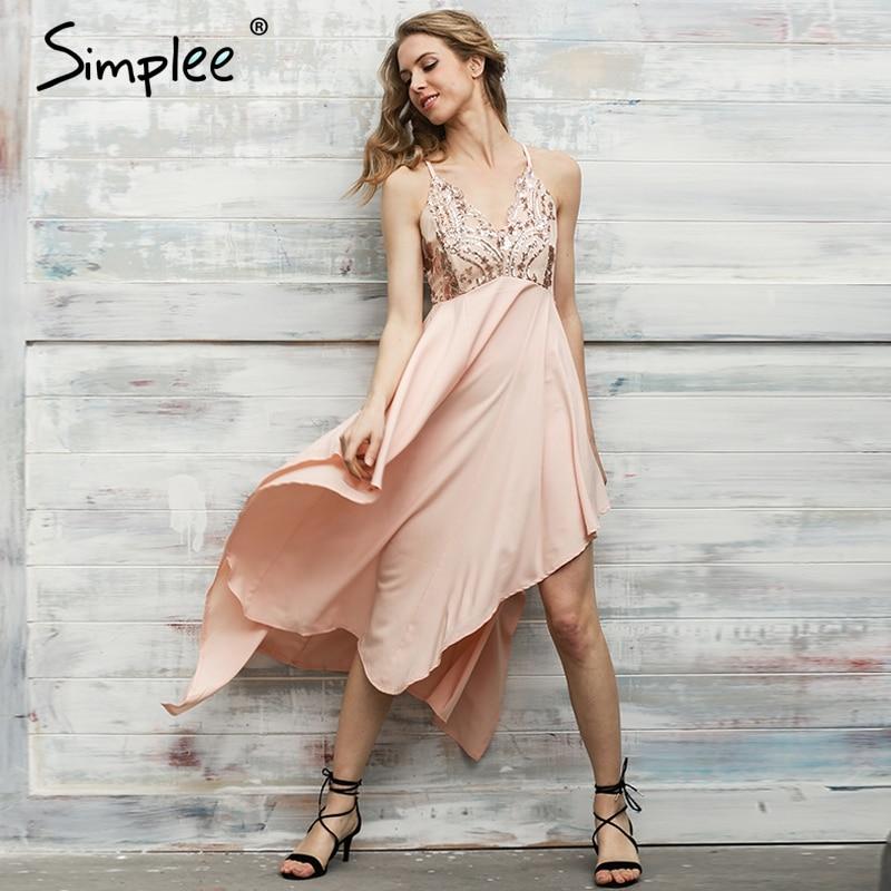 Simplee sexy cuello en v con lentejuelas largo irregular dress mujeres elegante