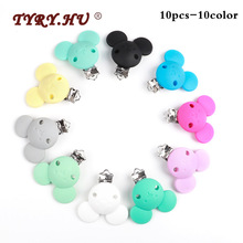 TYRY.HU 10pc Cartoon Mickey Pacifier Clip Silicone Teething Bead Baby teether Accessories Clasp Toy DIY Chain Tool