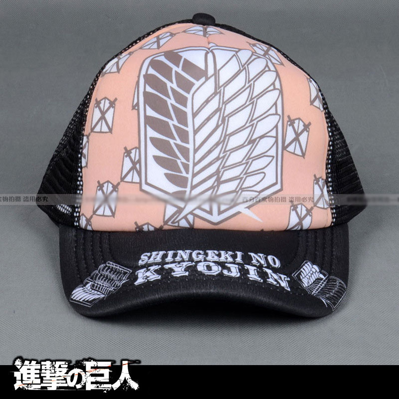 Anime Attack on Titan Scouting Corps Wings of Liberty Sign Printing Sun Cap Casual Adjustable Summer Mesh Hat for Cosplay Fans