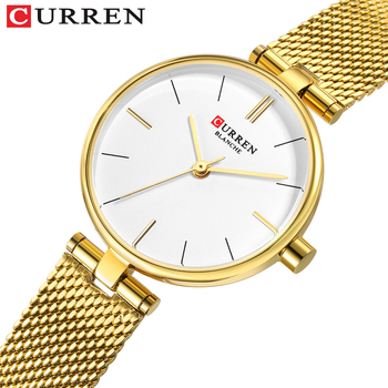 цена CURREN Stainless Steel Mesh Strap Watches Women's Quartz Watch Gold Bracelet Wristwatch Female Clock Ladies Dress Watch gift онлайн в 2017 году