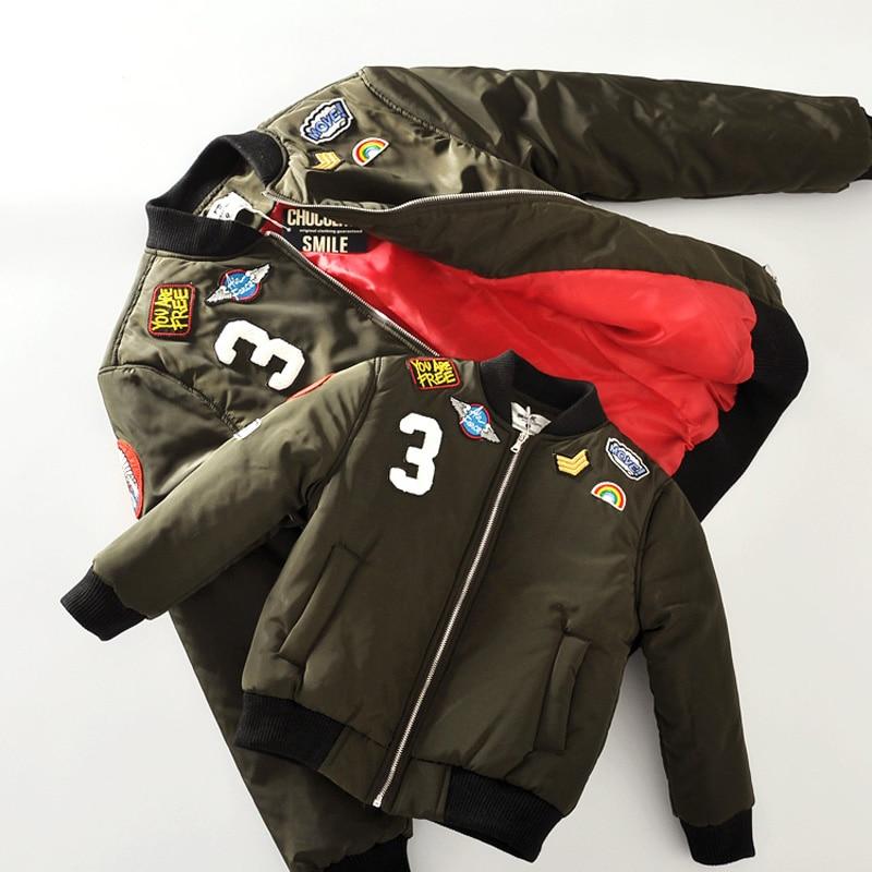 MAGGIE'S WALKER Kids Pilot Bomber Jacket Coat Children Clothing Embroidery Windbreaker Jacket Girls Boys Outwear Infant Clothing striped trim fluffy panel bomber jacket