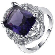 Anillo de boda UFOORO clásico vintage de color plateado, esquinas cuadradas púrpuras, circonita, joyería de flores, anillo de princesa, regalo para mujer