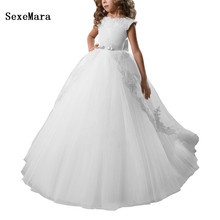 New Customize Flower Girls Dresses For Weddings Lace Appliques Ball Gown Birthday Dress Girl Communion Pageant Gown White Ivory flower girl dresses white lace appliques ball gown first communion dresses hot sale vestidos longo custom make size white ivory