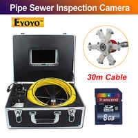 "Eyoyo 30M Sewer Waterproof Video Camera 7"" LCD Screen Drain Pipe Inspection DVR 12 Leds 4500MAh Battery AV Output"