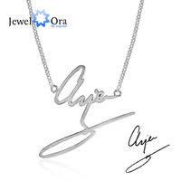 DIY Handwritten Name Jewelry Personalized 925 Sterling Silver Handwritten Necklace Best Christmas Gift JewelOra NE101702