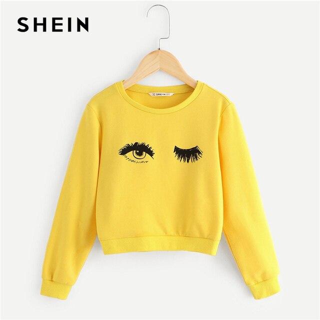 Шеин дети желтый глаз и ресниц печати милые толстовки для обувь девочек топы корректирующие 2019 весна пуловер с длинными рукавами
