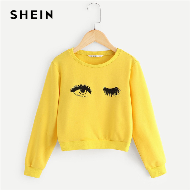 SHEIN Kiddie Yellow Eye and Eyelash Print Cute Sweatshirts For Girls Tops 2019 Spring Long Sleeve Pullover Girl Kids Clothes цена