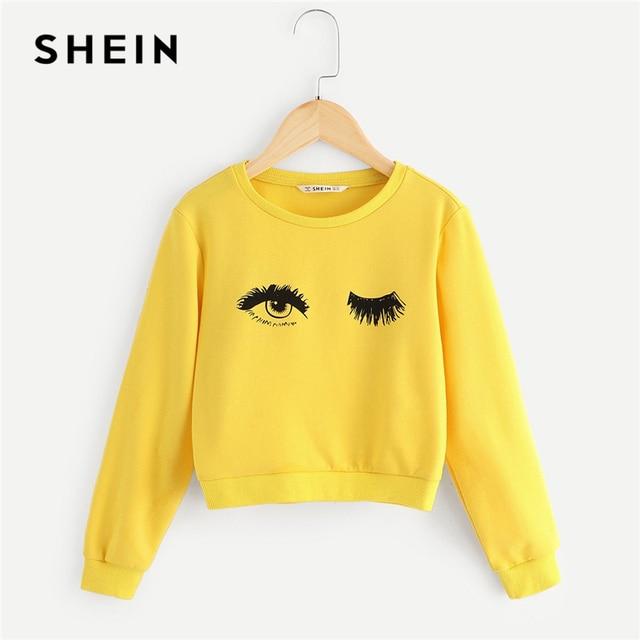SHEIN Kiddie/милые толстовки с принтом «желтые глаза и ресницы» для девочек, топы 2019 года, весенний пуловер с длинными рукавами детская одежда для девочек