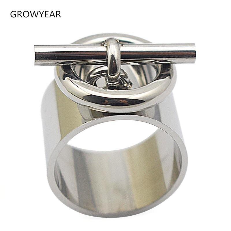 Женское кольцо на палец из нержавеющей стали, модное ювелирное изделие, широкое серебряное кольцо с круглым замком, Размер 7, 11, 10, 6, 9, 8