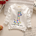 2016 Spring Autumn Girls Kids boys  Cartoon Giraffe Long Sleeve T-shirt  Sweatshirts  cute baby Clothes Children Clothing