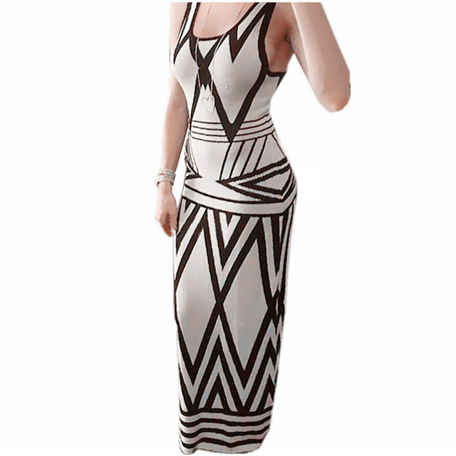 Women Geometric Print Summer Long Maxi Dress 2018 New Brand Casual Sleeveless Bodycon Party Dresses Vestidos White Plus Size