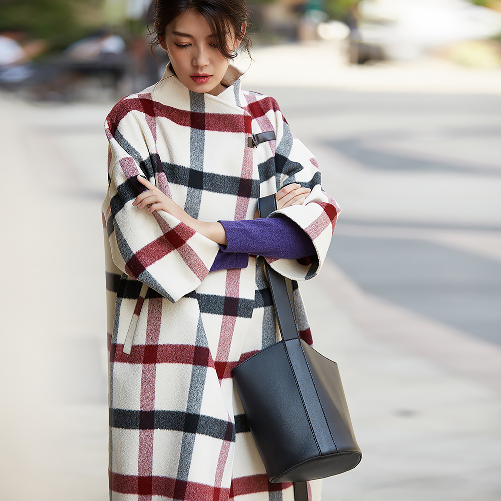IRINAW917 New Arrival Autumn And Winter 2018 Fashion Three Quarter Sleeve Long Oversize Cashmere Wool Plaid Coat Women