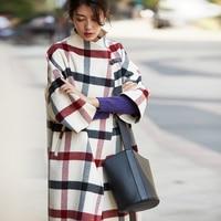 IRINAW917 new arrival autumn and winter 2018 fashion three quarter sleeve long oversize cashmere wool plaid coat women