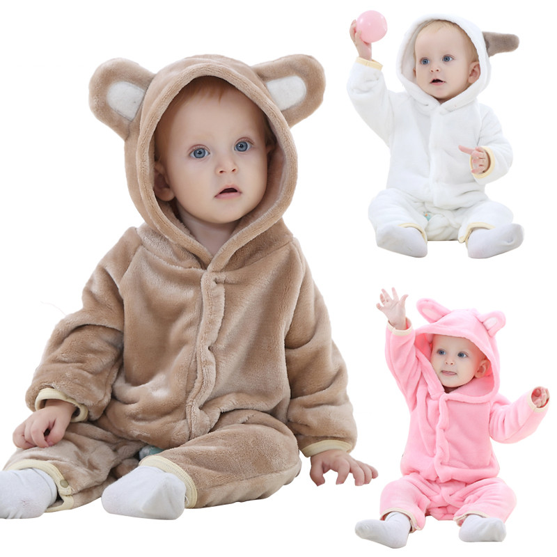 winter Spring Cute Baby Rompers Warm Long Sleeve Baby Clothes Autumn Coral Fleece Baby Girls boys Clothes Cartoon Jumpsuit