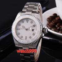 43mm parnis white dial sapphire glass one way bezel automatic men's watch steel strap waterproof mechanical watch