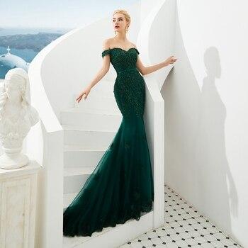 Hunter Green Mermaid Evening Dresses 2019 Boat Neck Appliques Lace Beading Formal Party Elegant Off Shoulder Long robe de soiree