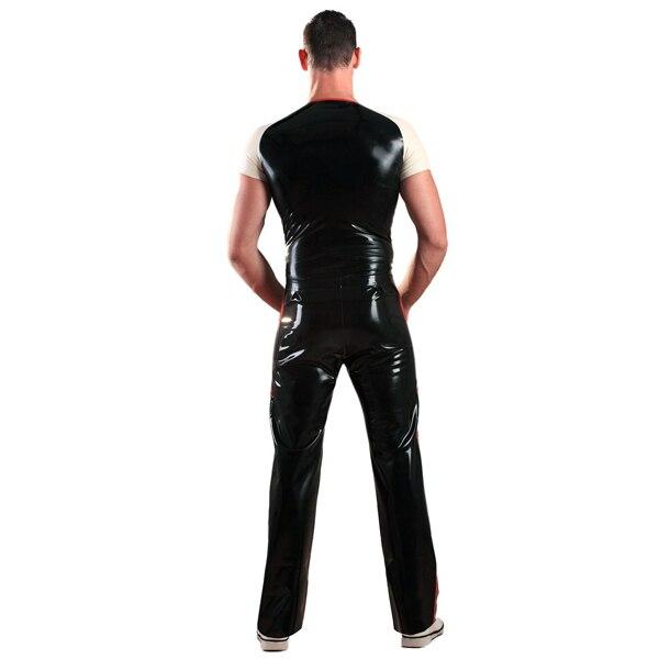 0.6mm épaisseur Latex hommes costume manches courtes chemise Long Latex pantalon - 3
