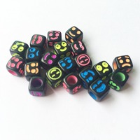 Wholesale 2800pcs 6*6MM Cube Acrylic Faces Beads Big Hole Black with Neon Smiling Face Printing Plaastic Square Jewelry Beads