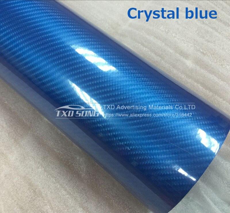 Высокое качество ультра-синий глянец 5D углеволоконная виниловая Обёрточная бумага 4D текстура супер глянцевая 5D углерода Обёрточная бумага s с 10/20 Вт, 30 Вт/40/50/60X152 см - Название цвета: crystal blue