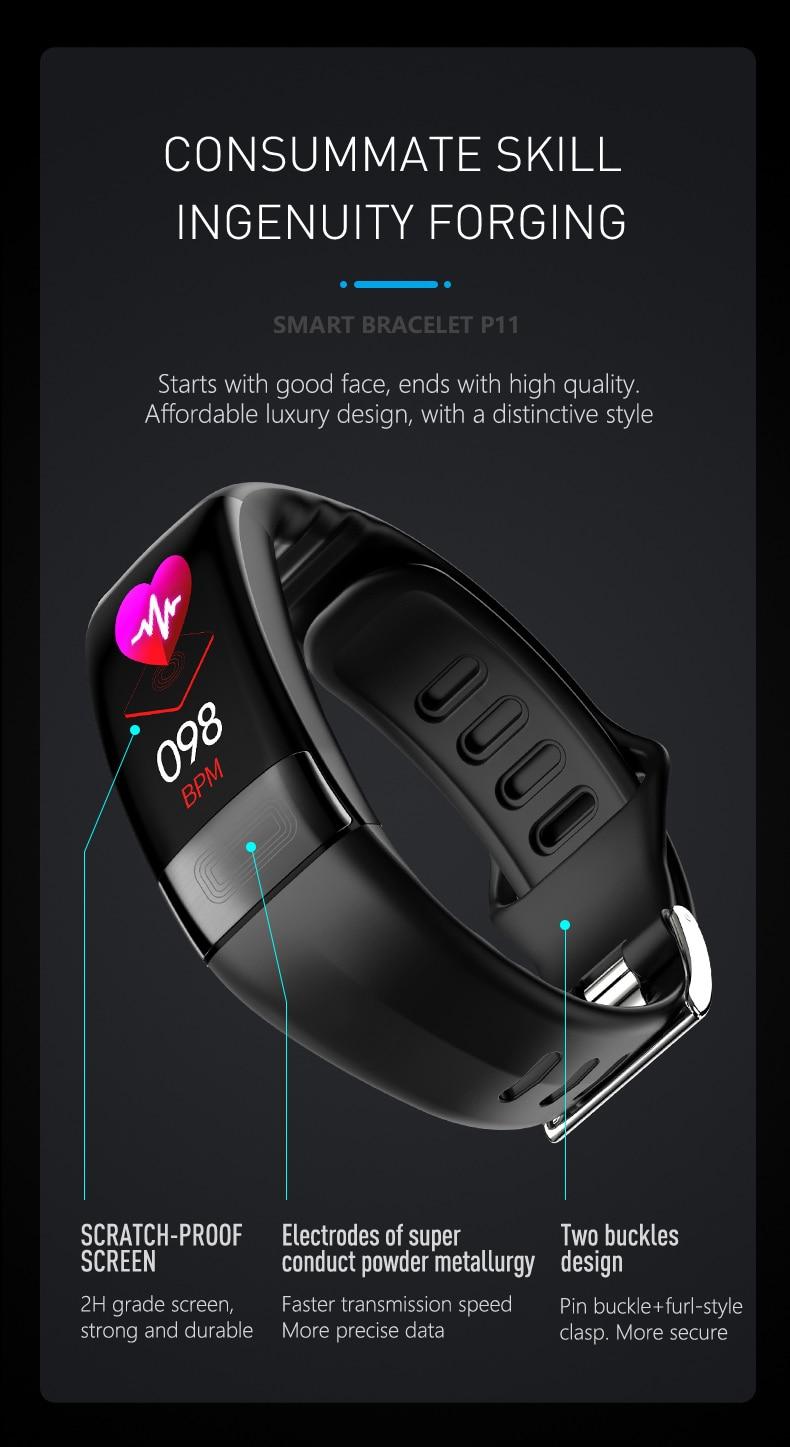 HTB11rakelKw3KVjSZTEq6AuRpXaN 2019 Newest smartband P11 ECG Smart band watch Heart Rate Monitor PPG Smart Bracelet Blood Pressure Waterproof Wristband