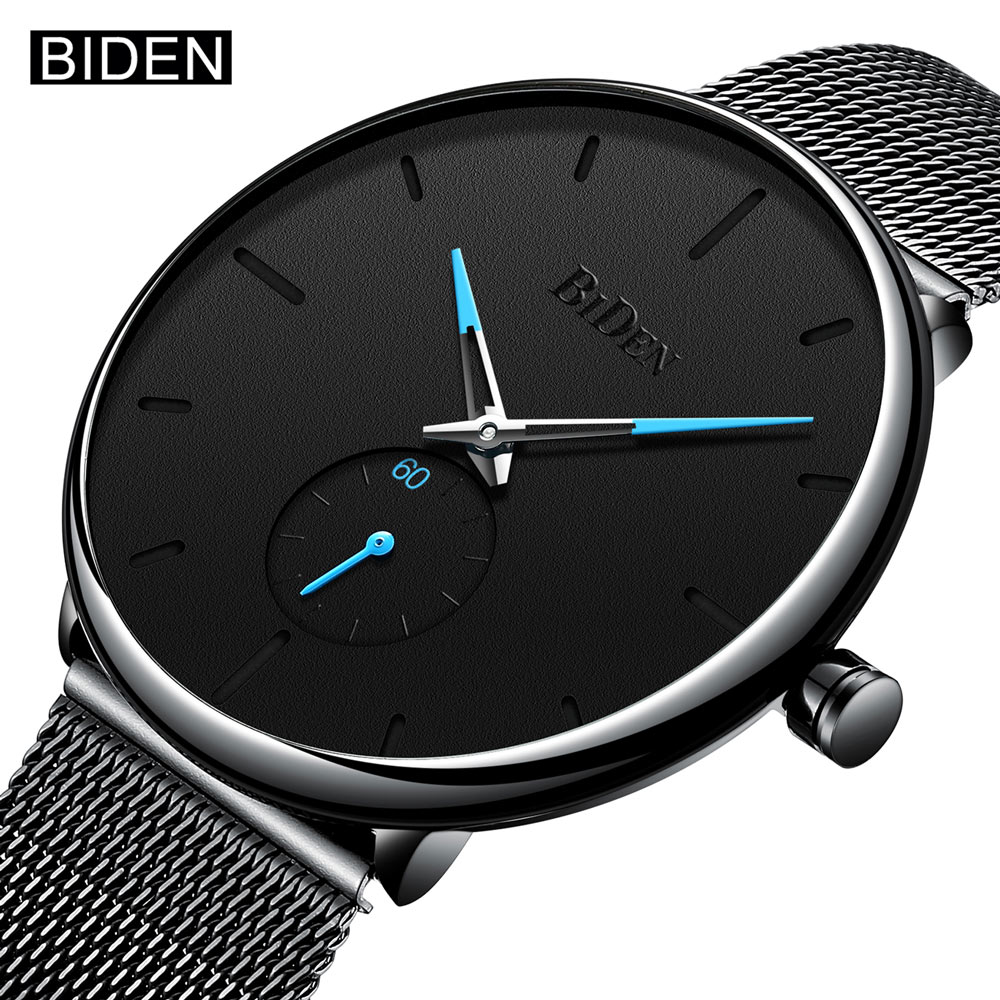 все цены на Blue Watches Men 2018 Top Brand Luxury Waterproof Quartz Wrist Watch For Men Male Clock Steel Mesh Thin Watch Relogio Masculino