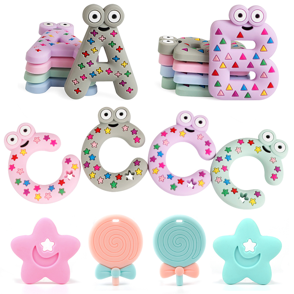 Shape Pendant Nursing Silicone Soother Baby Teether Chew Toy Teething Necklace