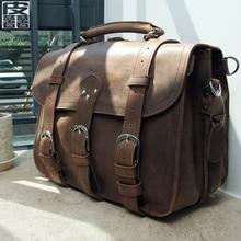 NEWEEKEND Retro Genuine Leather Cowhide Crazy Horse Big Travel Bucket Crossbody Luggage Bag Handbag for Man 5048