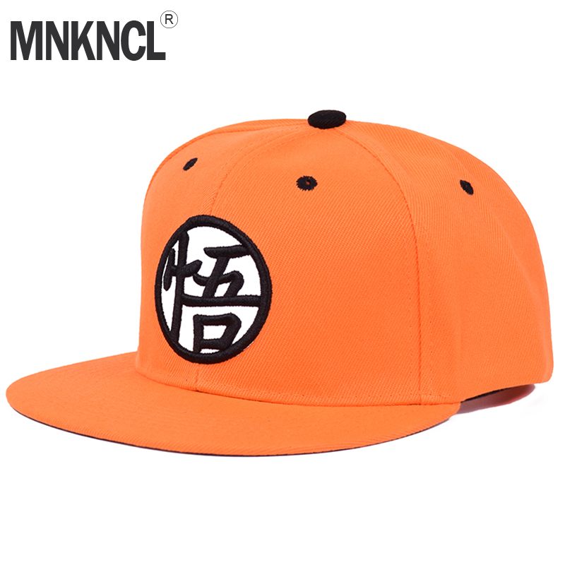 2018 New Dragon Ball Kakarotto Orange Flat Snapback HipHop Caps Hat Unisex Youth Adult Men Son Goku Dancer Snapback Caps 4pcs new for ball uff bes m18mg noc80b s04g