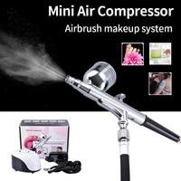 Mini Air Compressor Airbrush System Spray Art Gun Precise Spraying for Makeup Illustration Temporary Tattoos Cake Decorating
