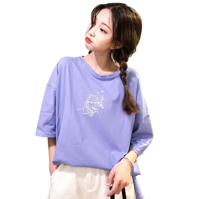 purple graphics cartoon women t shirts ladies cotton wide plus size shirt female beach casual tops summer 2019 harajuku