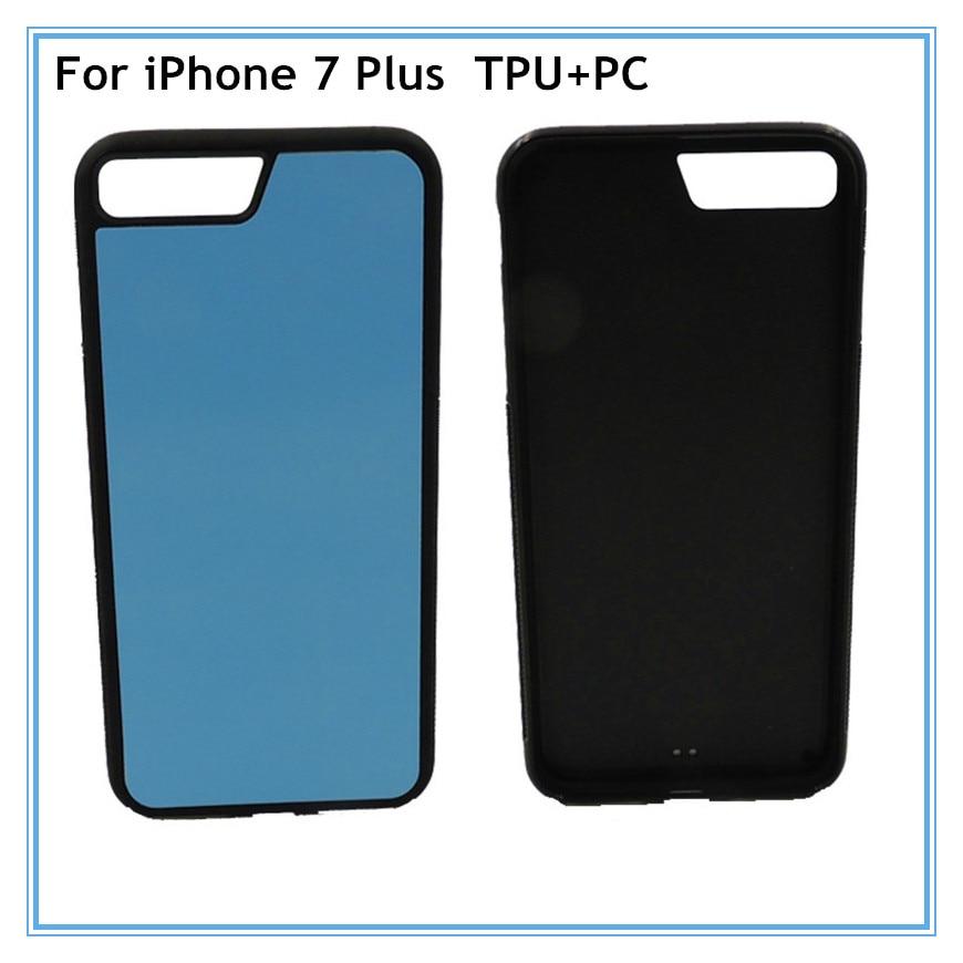 Цена за 10 шт./лот 2D Сублимация пустой Мягкие TPU чехол для iPhone 7 Plus чехол телефона алюминиевыми вставками и клей