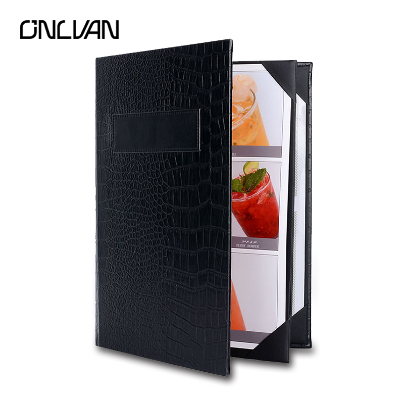 ONLVAN Menu Holders PU Leather Restaurant Upscale Hotel Cafe Menu Covers Customized Classic Black Alligator Grain Menu Folder menu чаша black contour