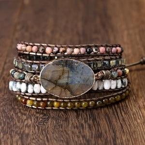 Image 4 - Labradorite stone vintage Leather Bracelet Mix Stones beads Women 5 Layers Wrap Bracelet Boho handmade Bracelet Jewelry gift