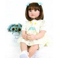 24 Inch bebe Reborn Baby Girl Doll 60 cm Soft Vinyl Cloth Body Princess Doll Lifelike Boneca Reborn Kids Best Playmate