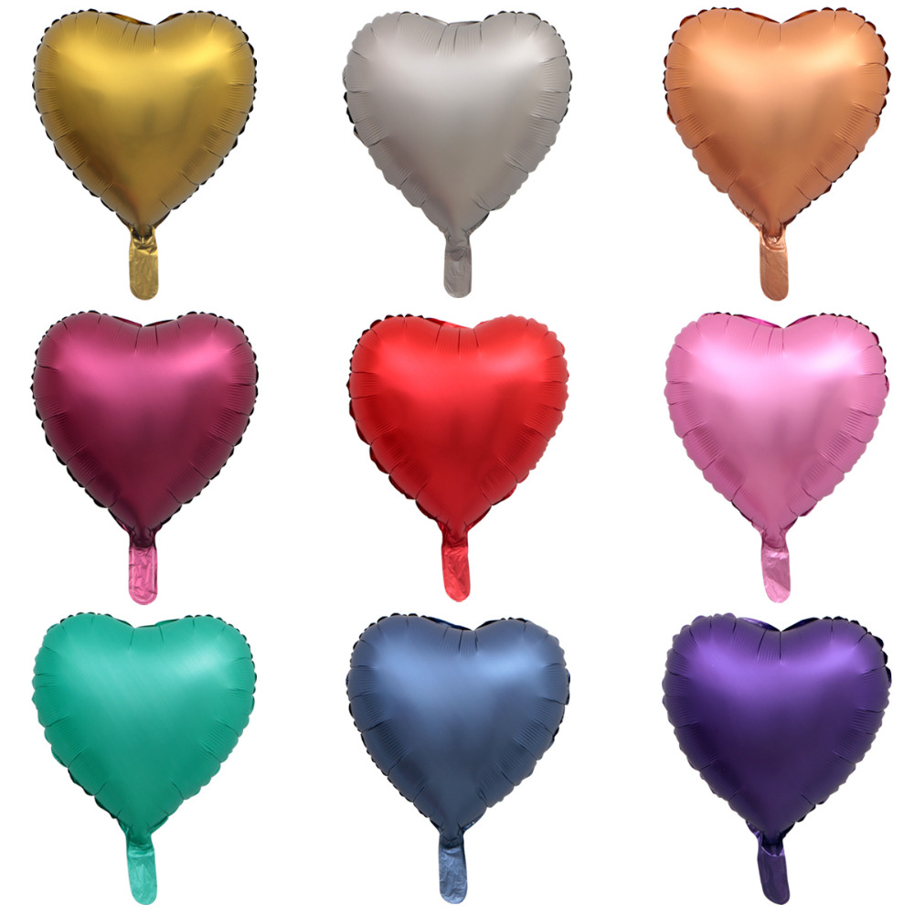 Металлический шар из хромированной фольги, 50 шт./лот, 18 дюймов, в форме сердца и звезд, круглые матовые гелиевые шары для украшения дня рождения, свадьбы, вечеринки-2