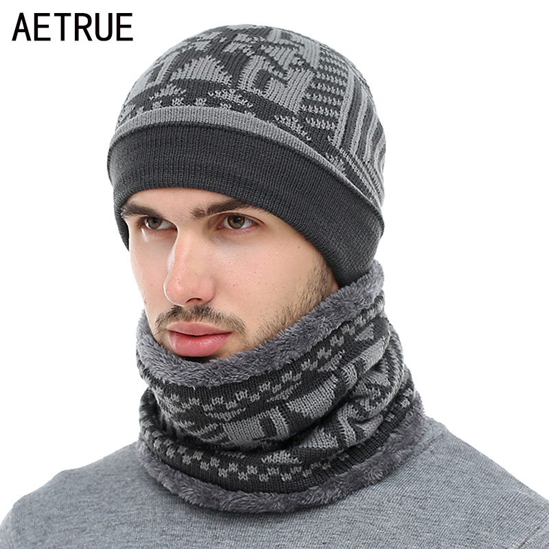 AETRUE 2019   Skullies     Beanies   Winter Knitted Hat   Beanie   Scarf Men Winter Hats For Men Women Caps Gorras Bonnet Mask Brand Hats