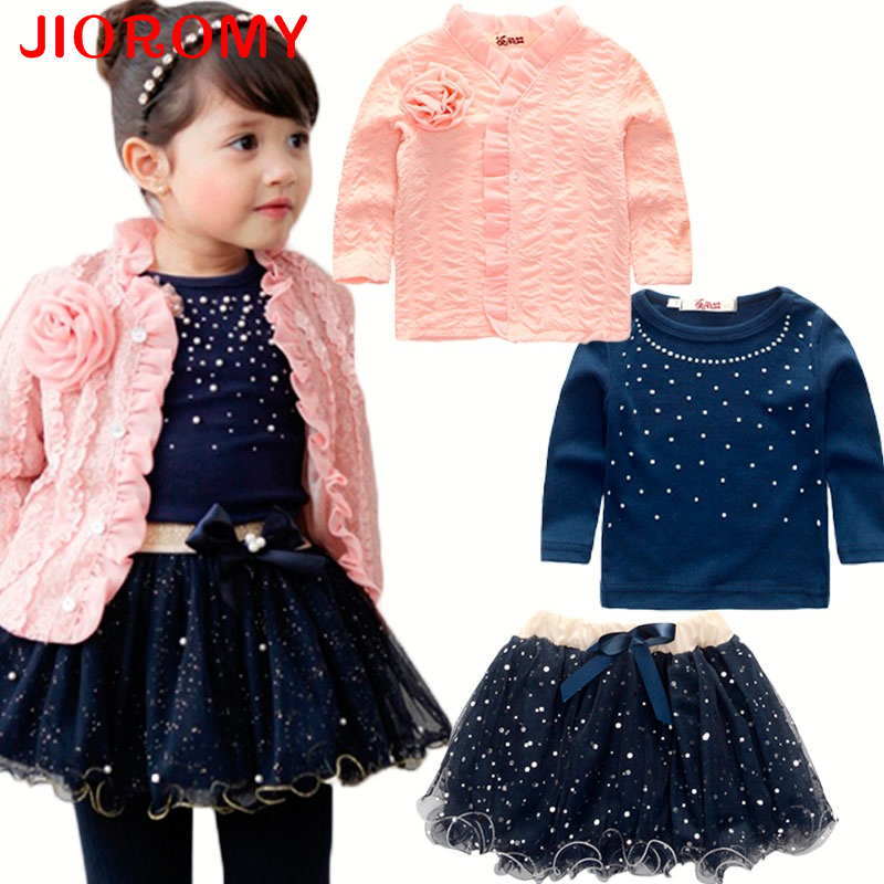 Girls Fashion Coat Jacket Long Sleeve T-Shirt Plus Skirt 3pcs Set Children's Cardigan Pearl Sequin Puff Pink Flower Tutu Suits 3 color red pink blue cherry cardigan coat