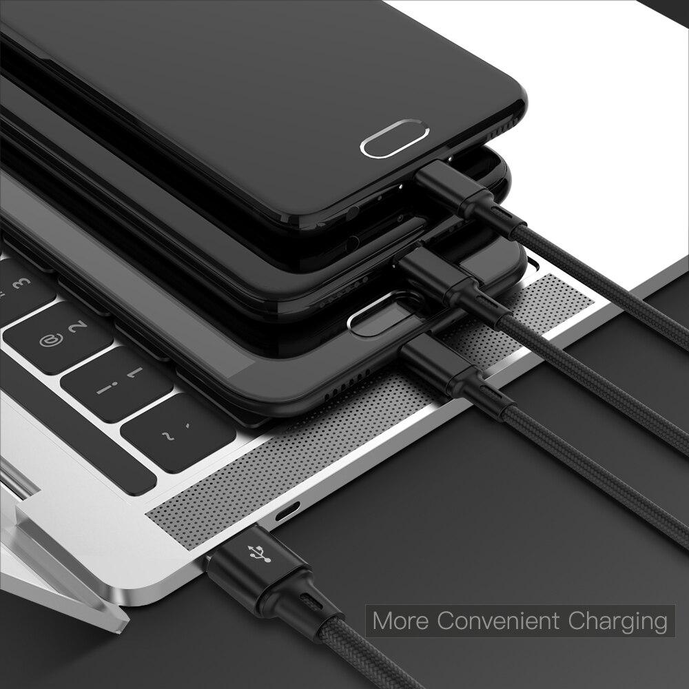 Image 5 - Usb кабель зарядное устройство 3 в 1 Micro USB кабель для samsung S9 для iPhone XS X 8 7 6 для Android USB TypeC зарядное устройство Шнур-in Кабель для MP3-/MP4-плееров from Бытовая электроника