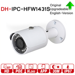 DH IPC-HFW1431S 4MP Mini Bullet IP Camera Night Vision 30M IR CCTV Camera POE IP67 Update From DH-IPC-HFW1320S with logo