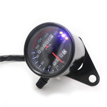 Universal motocicleta velocímetro odómetro Moto Medidor de velocidad dual con indicador LED velocímetro DC 12V negro/plata
