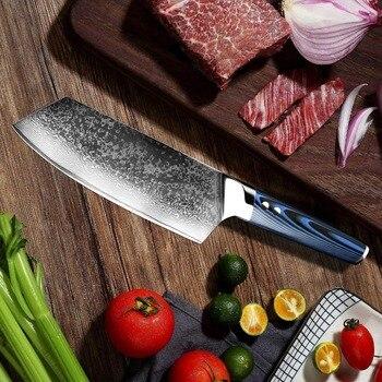 Cuchillos De Acero Japoneses   XITUO De Acero De Damasco Chef Cuchillos 67 Capa Japonés VG10 Damasco Cocina Gyuto Cuchillo Hecho A Mano Sushi Cuchillo De Corte Azul G10Handle