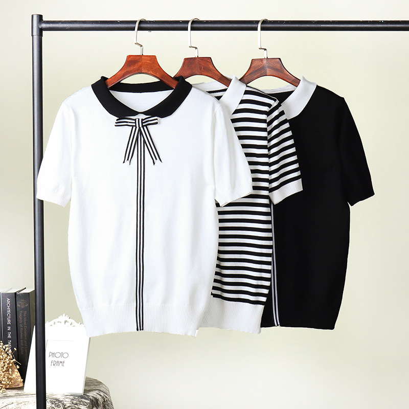 HLBCBG 2019 New Women Knitted Summer Stripe T Shirt Bowtie Preppy Style Student Cute Top Tee Shirt Short Sleeve Tshirt Female