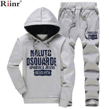 Riinr 2018 Neue Frühjahr Männer Sets Fleece Gefüttert Sweatshirt + Hosen Männliche Trainingsanzug Warme Sporting Anzüge herren Sportswear 2 stück Anzug