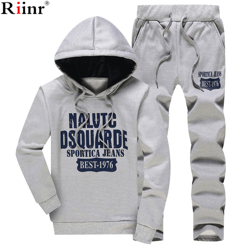 Riinr 2018 New Spring Males Units Fleece Lined Sweatshirt + Pants Male Tracksuit Heat Sporting Fits Males's Sportswear 2 Piece Go well with